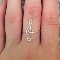 Treble Clef wire ring FREE SHIPPING silver-plated or gold-plated available