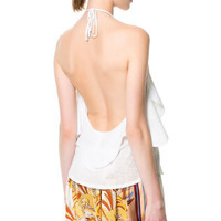 TOP WITH RUFFLE AT THE SIDES - Tops - Woman - ZARA United States