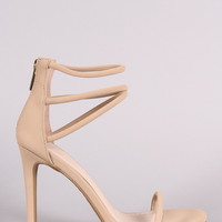 Anne Michelle Nubuck Triple Ankle Strap Single Sole Heel