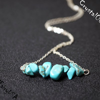 Turquoise chips necklace, turquoise bar necklace, blue stone necklace, blue stone healing necklace, turquoise healing necklaceb yoga  stone