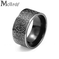 Mcllroy Classic Rings Men ring Four corner Mythical Dragon Greek symbols Retro Titanium steel Male Gift Punk aneis viking 11.11