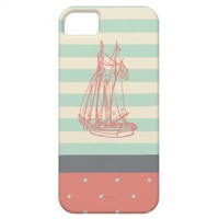 Vintage Nautical Ship Mint Green and Coral iPhone 5 Covers from Zazzle.com/shaleceelynne*