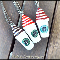 Starbucks Inspired Necklace - Your Choice of Syrup - Chocolate - Strawberry - Caramel - Coffee - Kawaii Polymer Pendant - Miniature Jewelry