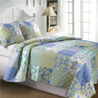 King Size Cotton Paisley Patchwork Quilt Set in Blue Green Yellow