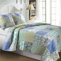 Full / Queen Cotton Patchwork Quilt Set in Paisley Green Blue Yellow