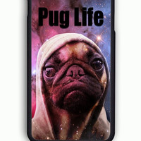 iPhone 6 Case - Rubber (TPU) Cover with Funny Pug Life On Galaxy  Rubber Case Design