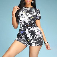 Onewel NIKE new letter printed tie-dye sports suit marble texture shirt shorts