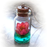 Lotus flower necklace, water lily bottle necklace, pink flower vial necklace, lotus necklace