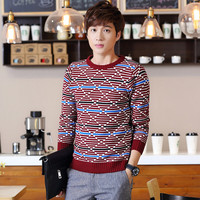 Geometric Knit Long Sleeve Pullover Sweater
