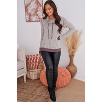 Out Of Envy Drawstring Cowl Neck Top (Taupe)