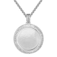 Sterling Silver Baguette Icy Round Picture Photo Circle Pendant Chain