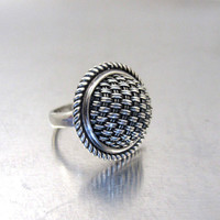 Sterling Silver Domed SUARTI Ring, Large Braided Rope Basketweave Design, Size 6.50