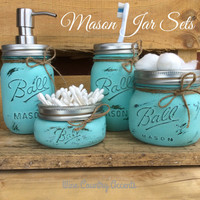 Painted Mason Jars. Bathroom Decor. Home Decor. Beach Bathroom Decor. Bathroom Set. Rustic Decor. Shabby Chic. Wedding/House Warming Gift.