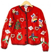 Shop Now! Ugly Sweaters: Gifts, Bells and Candles Tacky Ugly Christmas Sweater / Cardigan Women's Size Medium (M) $20 - The Ugly Sweater Shop
