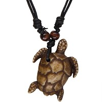 Brown Carved Sea Turtle Necklace with Cord