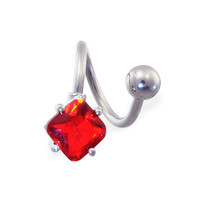 Twister barbell with ruby red diamond shaped end, 14 ga
