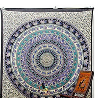 Colorful  geometric & abstract animal flower pattern 3 Maya style rectangle wall hanger Tapestry Beach Towel