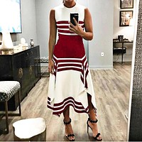 Fashionable Sexy Women's Dresses with Irregular Black-and-White Stripes Red
