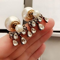 DIOR Popular Women Pearl Diamond Tassel Earrings Jewelry Accessories
