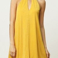 Mustard Chiffon Mock Neck Dress