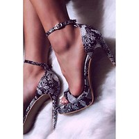 New snake pattern waterproof platform high-heeled high-heeled sandals women shoes