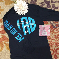 Monogram Panthers T-Shirt Custom Monogram Panthers Shirt Long Sleeve Carolina Panthers Monogram T-Shirt Monogrammed Gifts