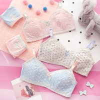 Hot Stylish Summer Sexy Comfortable Beach Bralette Bra Set Cup Cotton With Steel Wire Vest [10086422723]