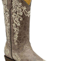 Corral Boots Women's Bone Embroidered Brown Cowgirl Boots |Corral Boots