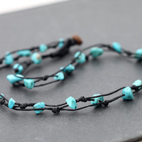 Turquoise Stone Knotted Necklace