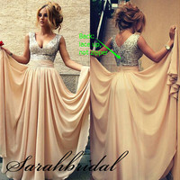 New V-neck Champagne Chiffon Formal Party Prom Ball Evening Cocktail Dresses