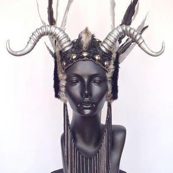 MADE TO ORDER Faux Feather & Horn Headpiece