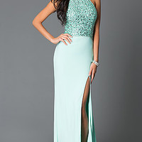 Mint High Neck Beaded Open Back Long Prom Dress With Slit