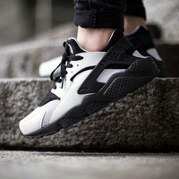 """NIKE""AIR Huarache Running Sport Casual Shoes Sneakers White + light grey+black"