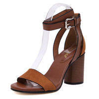 GRITION New Retro Flock Square Heels Buckle Strap Leisure hasp Sexy Sandals Shoes Woman Ankle Strap Zapatos Mujer Black Brown US