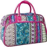 World Traveler Patchwork Travel Bag, Pink and Multicolor