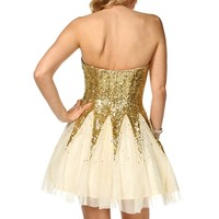 Alia- CreamGold Sequin Dress