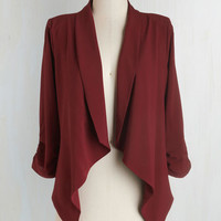 Minimal Mid-length 3 Marketing Maven Blazer in Burgundy