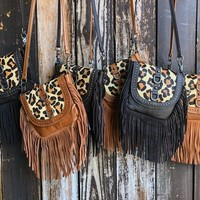 """Welcome To The Jungle"" Cow Hair Leopard Print Leather Fringe Cross Body Purse"