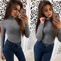 Fashion Pure Color High Neck Long Sleeve Blouse