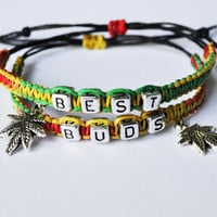 Best Friends Hemp Bracelets, Weed leaf jewelry, Marijuana Leaf Charm, cannabis leaf bracelet, hemp jewelry, pot leaf bracelet, weed charm