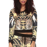 Royal Gold Leopard Crop Sweater