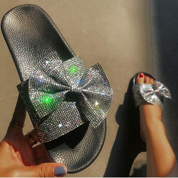 Star grid flash bow slippers