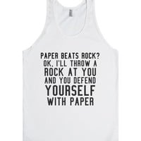 Paper beats rock?-Unisex White Tank