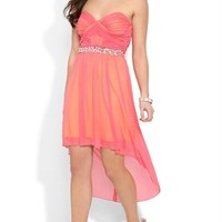 Strapless High Low Dress with Stone Waist and Shimmer Finish
