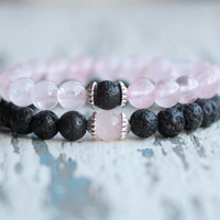 2 Bracelet set gift for couple bracelet pink black for loved boyfriend matching husband wife gift couples jewelry his and her relationship