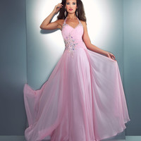 Mac Duggal Prom 2013 - Ice Pink Chiffon Halter Gown - Unique Vintage - Cocktail, Pinup, Holiday & Prom Dresses.