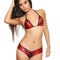 Red Zebra Booty Short Set Pole Dancer Clothing