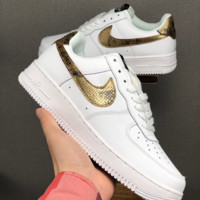 HCXX 19June 1235 Nike Air Force 1 Low Serpentine hook Casual Skate Shoes white gold