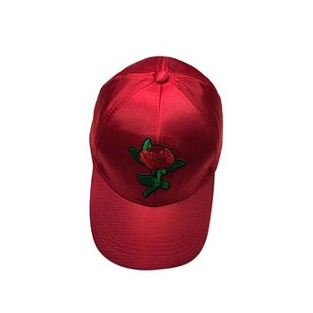 Red Satin Snap Back Hat with Red Rose Applique