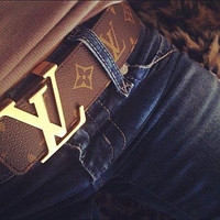 Louis Vuitton LV fashion printing gold and silver buckle belt hot sale men and women casual belt